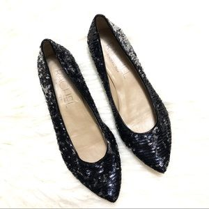 Rachel Roy Darby black sequin flats